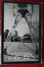 Hotrod Race Pin Up Tattoo Girl Route 66 Sexy Sign Blechschild Schild 20x30
