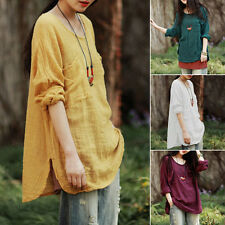 Summer Womens Loose Plus Size Solid T-Shirt Cotton & Linen Cool Tops Blouse