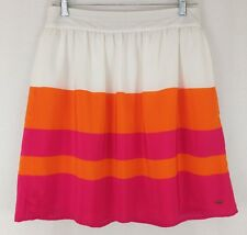 Tommy Hilfiger Women's Gathered Skirt Sz 4 White Orange Pink Color Block Lined