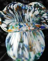 "Vintage Multi-Color Splatter Art Glass Vase ""End Of Day"" Murano? 7.25"""