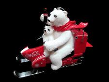 Coca-Cola Kurt S Adler Polar Bear and Cub Snowmobile Holiday Christmas Ornament
