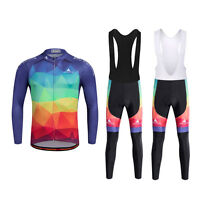 Men's Cycling Long Bib Tights Pants Long Sleeve Cycle Jersey Winter Cycling Kit