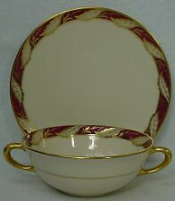LENOX china BELLEVUE MAROON pattern CREAM SOUP BOWL with SAUCER (Dessert Plate)