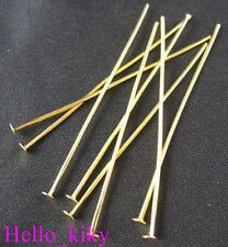 400 Pcs Gold Plated Head Pin Findings 40 X 0.7mm M746