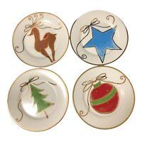 "Pier 1 Dessert Appetizer Plates 7-1/2"" Christmas Reindeer Ornament Star Tree EUC"