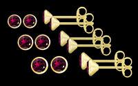 ECHT GOLD *** 1 Paar Granat Rhodolith Ohrstecker, wählbar in 3,5 - 4 - 4,5 mm Ø
