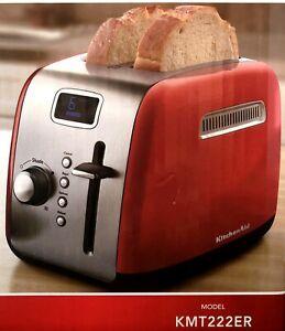 KitchenAid KMT222ER ~ 2 Slice Red Digital Stainless Steel Toaster LCD Display