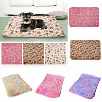 GN- LC_ WARM PET MAT PAW PRINT CAT DOG PUPPY FLEECE SOFT BLANKET BED PAD S/L UNI