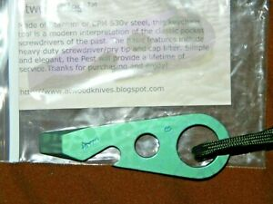 Atwood PEST Sailboat Stamped UV Electric Green Patterned Anodized Titanium NEW