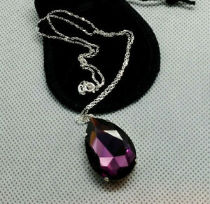 Teardrop Pendant Necklace with a Swarovski 30x20mm simulated Amethyst Crystal