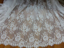 White French Eyelash Lace Fabric Scalloped edge Chantilly Lace With Big Flowers