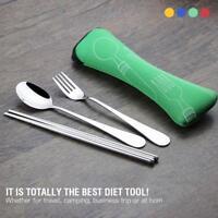 3Pcs Stainless Steel Knife Fork Spoon Bag Travel Cutlery Portable Tableware Set
