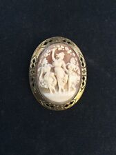 Vintage Gold Filled Carved Shell Woman Trio Cameo Pin Back
