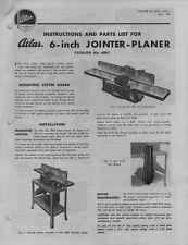 """1951 Atlas 6"""" Jointer-Planer  Instructions"""
