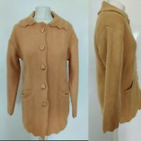 Vintage N Line Women's Cardigan Beige Csmel Button Down Collar Casual Size 14 16