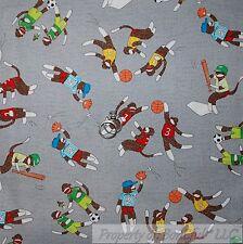 BonEful Fabric FQ Cotton Quilt Gray Blue Red Brown Sock Monkey Stripe Sport Boy
