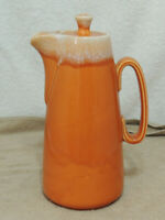 Hull Pottery Orange Tangerine Drip Glaze Coffee Pot Carafe Oven Proof