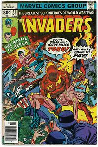 INVADERS#21 VF 1977 MARVEL BRONZE AGE COMICS