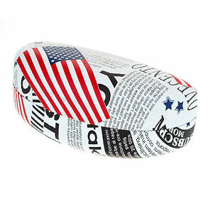Sunglasses & Glasses Protective Case USA Flag News Letter Print Oval Hardcase