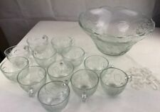 Glass Punch Bowl and 12 Glasses