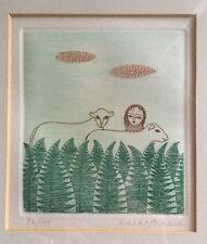 "KEIKO MINAMI,""YOUNG SHEPHERDESS""ORIGINAL,signed 92/100 aquatint etching,c1985"