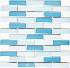 Keramikmosaik Verbund weiß blau Fliesenspiegel Küche Rückwand Duschwand BR 222