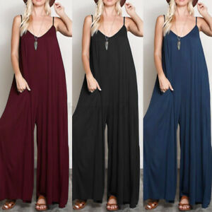UK Women Sleeveless V Neck Straps Party Evening Club Jumpsuit Playsuit Trousers