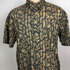 Pendleton Mens Green Beige Leaves Hawaiian Shirt Size Large Aloha Pattern