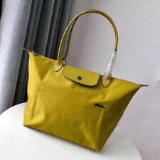 Longchamp Le Pliage Tote Bag Horse Embroidery Medium Handbag Shoulder Bag Yellow