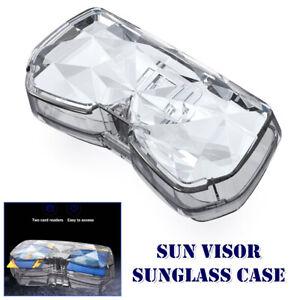 Clear Car Sun Visor Mount Sunglasses Eyeglass Case Card Folder Box Pouch Bag 1PC