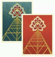IN HAND * Obey Giant FLOWER POWER RED and BLUE Print Poster SET Shepard Fairey