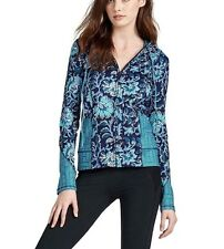 Lucky Brand - Womens L - NWT - Blue Vinyasa Floral Full Zip Hoodie Scuba Jacket