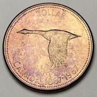 1967 CANADA SILVER DOLLAR GOOSE CHOICE BU TONED UNC COLOR GEM #11 (DR)