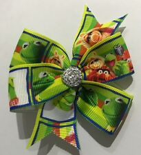 KERMIT THE FROG AND MISS PIGGY GREEN AND WHITE PINWHEEL BOW HAIR CLIP