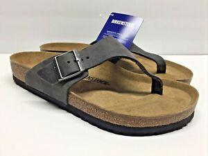 NEW: BIRKENSTOCK GERMANY Como Sz 10/EU 43 Gray Soft Nubuck Leather Thong Sandals