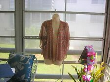 ❤ One World Women's Sheer Blouse Coverup Top Red & Green Open Front Size Med