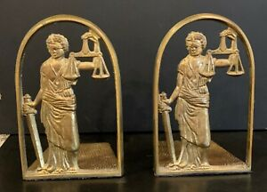 Art Deco Lawyers Bookends - Woman with Scales Of Justice - metal/brass - EUC