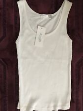 2adf00c972253 NEW Aqua Brand Womens White Cotton Sleeveless Tank Top Shirt Small