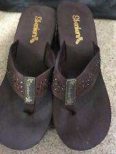 Skechers Cali Brown Wedges Flip Flops Size 8