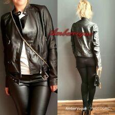 Zara Black Leather Metallic Buckle Zips Biker Real Leather Jacket Size Xs 6