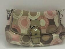 "Coach Soho pink multicolor logo  snaphead flap handbag  purse 8""H × 14""L"