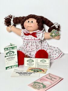 Vintage 1983 Cabbage Patch Kids, Birth Certificate, Dress and Slippers, TAG too