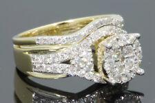 10K Oro Amarillo 1.39 Quilates Mujer Real Anillo de Compromiso Diamante De