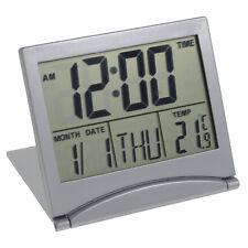 LCD Alarm Digitalwecker Reisewecker mit Kalender Thermometer klappbar und flach