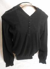 BEN SHERMAN Men's Size L Large Cotton Wool Blend Black V-Neck Button Sweater