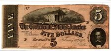 Civil War Confederate Csa T-69 $5 Note Obsolete Currency Richmond Va Lincoln