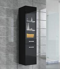 Badezimmer Schrank Rio 131 cm Hochglanz Schwarz Fronten