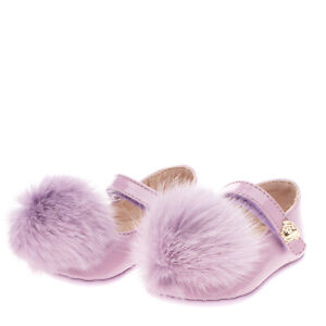RRP€170 YOUNG VERSACE Leather Mary Jane Shoes EU16 UK0.5 US1 Rabbit Fur Pom Pom