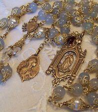 Rosary Mary Magdalene 8mm Aquamarine & Pearls Antique Bronze Handmade