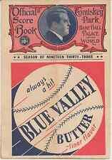 1933 CHICAGO WHITE SOX vs CHICAGO CUBS MLB Baseball Scorecard (Comiskey PARK)